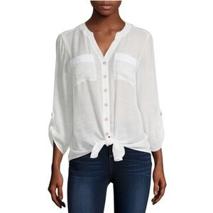 NWT Alyx Y-Neck 3/4 Sleeve Tie Front Blouse